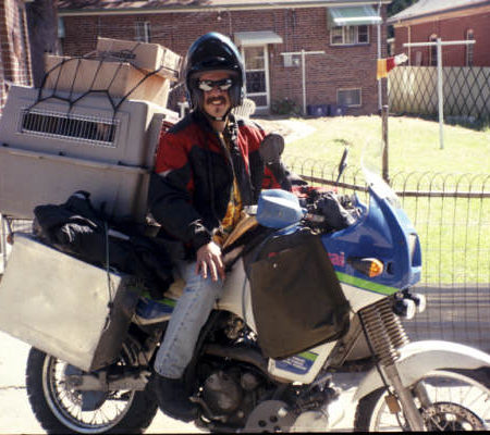 david on motorcycle adventure with his dog max