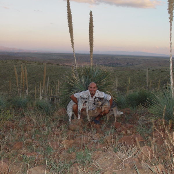 David Blank with his pet dogs on an adventure in New Mexico Southwest