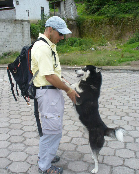 David Blank with dog husky