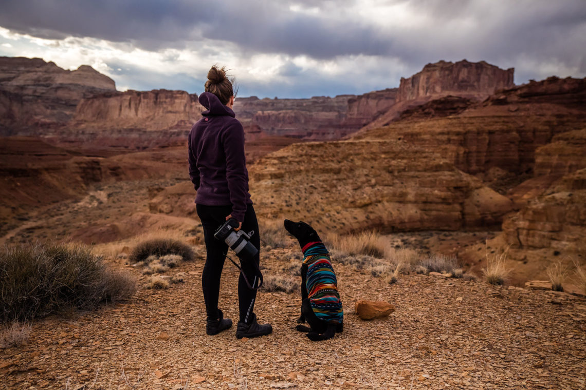 Adventure with dog in San Rafael Swell, United States
