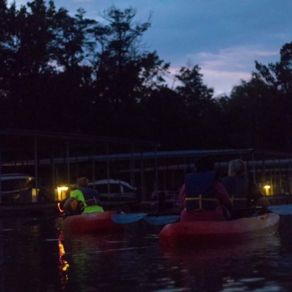 kayaking at night