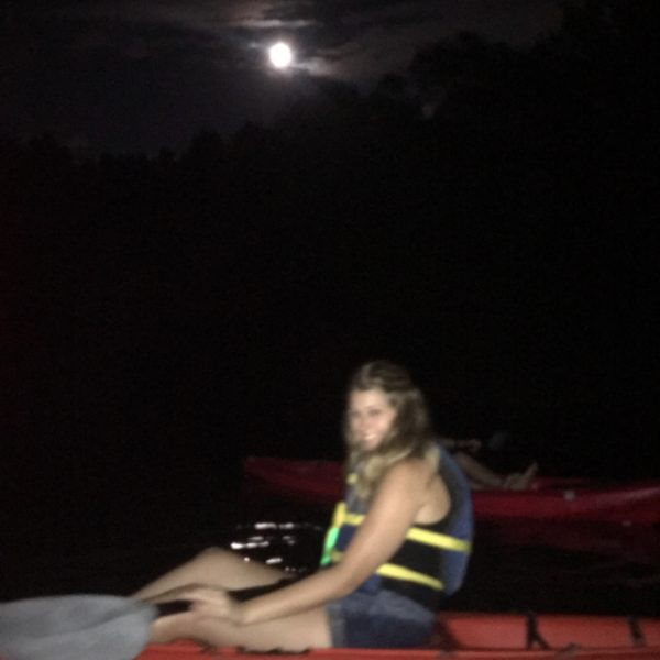 kayaking under the full moon